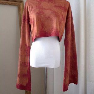 Missguided Tops - Women's NEW Rust Tie Dye Balloon Sleeves CropTop